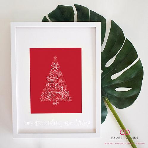 Red Snowflake Christmas Tree 8x10 Print