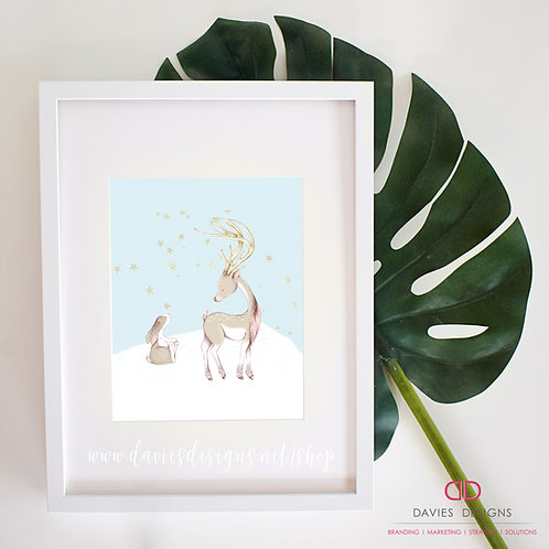 Reindeer with Bunny 8x10 Print