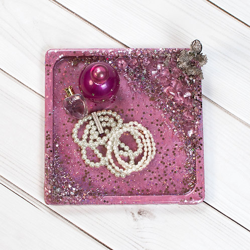 """Pink Unicorn"" Jewelry Tray (9"" x 9"")"