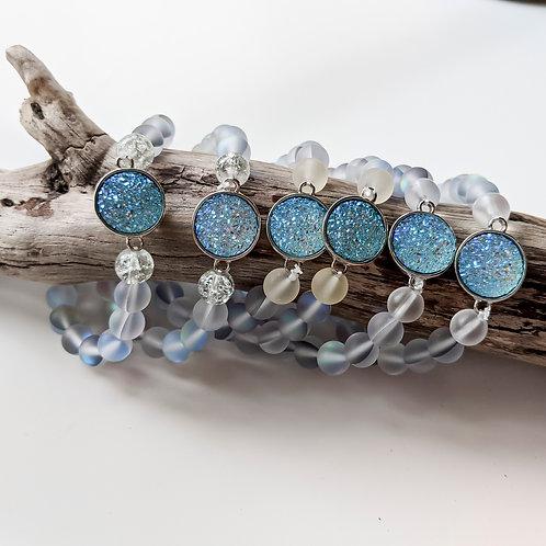 Ocean Blue Mermaid Glass Bracelets with Blue Druzy