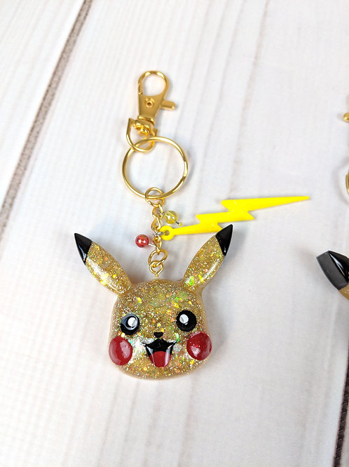 Excited Pikachu Resin Pokemon Keychain with Jewels & Electric Embellishments