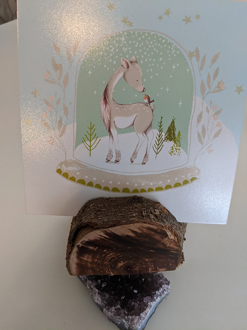 """Deer & Bird Snowglobe"" Holiday Print/Photo Holder w/ Wood Base"
