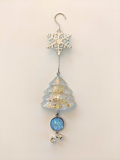 Clear Resin Shimmery Tree Ornaments w/Blue Snow Druzy & Silver Bell