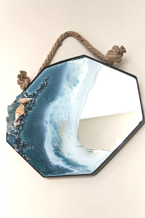 Resin on Octagon Mirror - Seascape with Nautical Rope Hanger