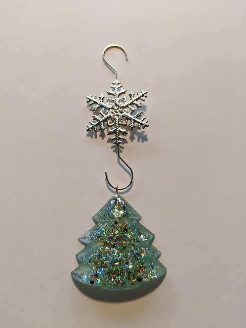 Clear Resin Shimmery Green Tree Ornaments