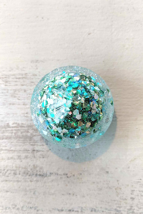 Small Diamond Resin Magnet with Chunky Green Glitter