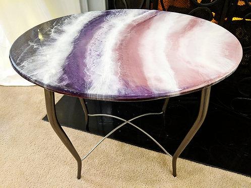 "24""x18"" Pink Sand Beach Ocean Wave Side Table"