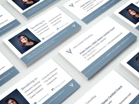 Executive Business Card Design for Virtus Career Consulting