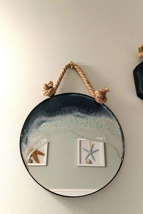Resin Seascape on Circular Mirror with Nautical Rope Hanger