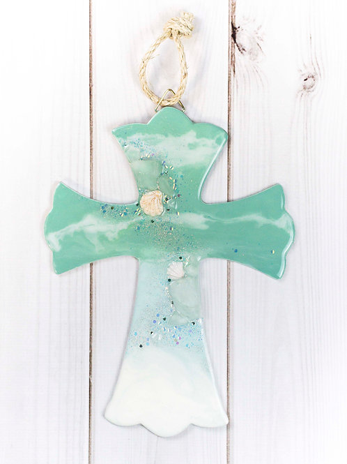 Resin Ocean Waves on Wooden Cross w/Nautical Rope Accent