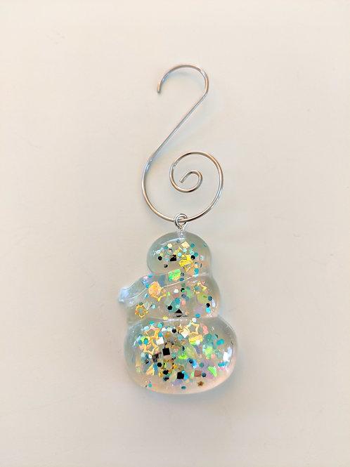 Clear Resin Blue Sparkle Snowman Ornaments