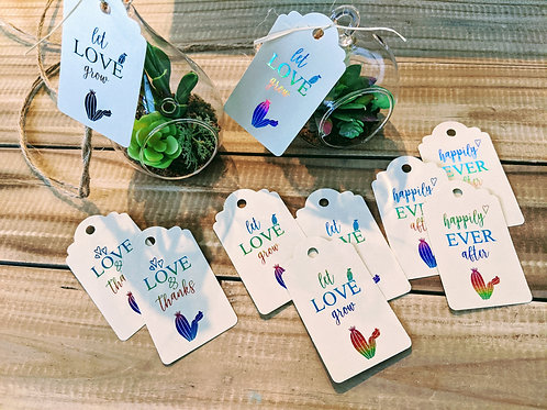 "Succulent Themed ""Let Love Grow"" Foil Bridal Shower Favor Tags"