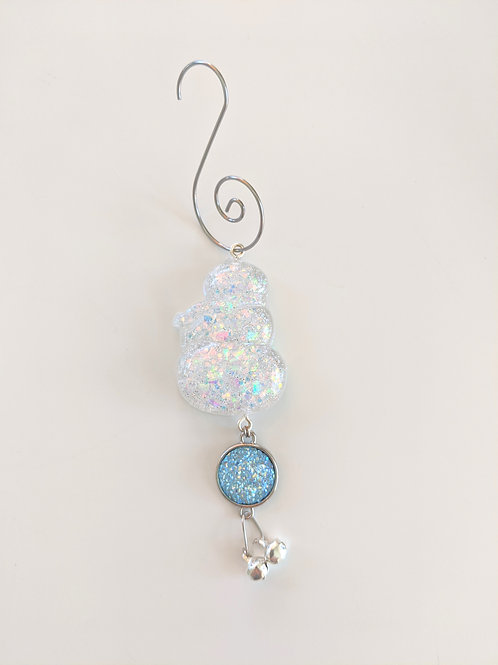 Clear Resin Shimmery Snowman Ornaments w/Blue Snow Druzy & Silver Bell