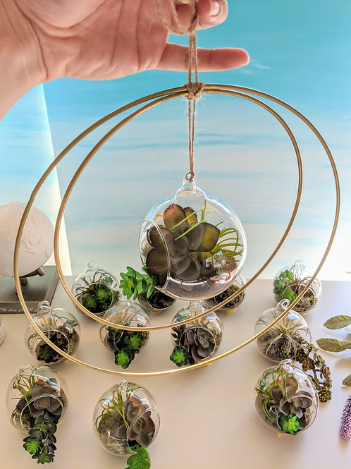 Hanging Faux Succulent Terrarium with Double Gold Rings