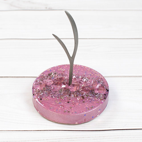 """Pink Unicorn"" Jewelry Tree (5""w x 6.5""h) Antler Design"