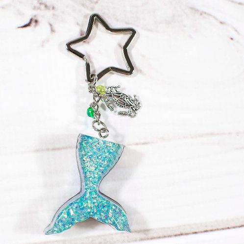 Handcrafted Deep Sea Green Glitter Mermaid Tail Keychain
