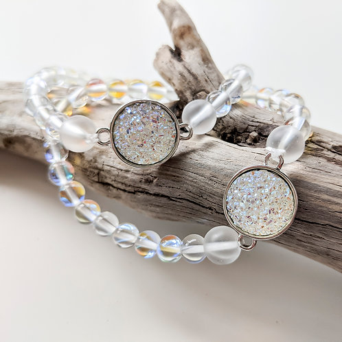 Clear Seas Moonstone Glass Bracelets with White Druzy