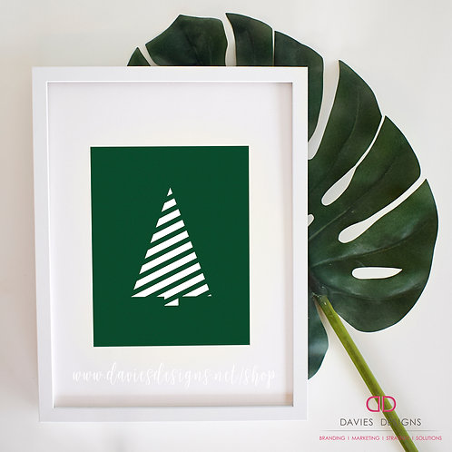 Striped Green Christmas Tree 8x10 Print