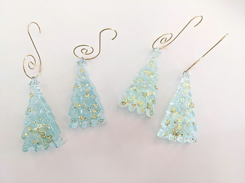 Shades of Green Tree Ornaments - Set of 4 with Hooks