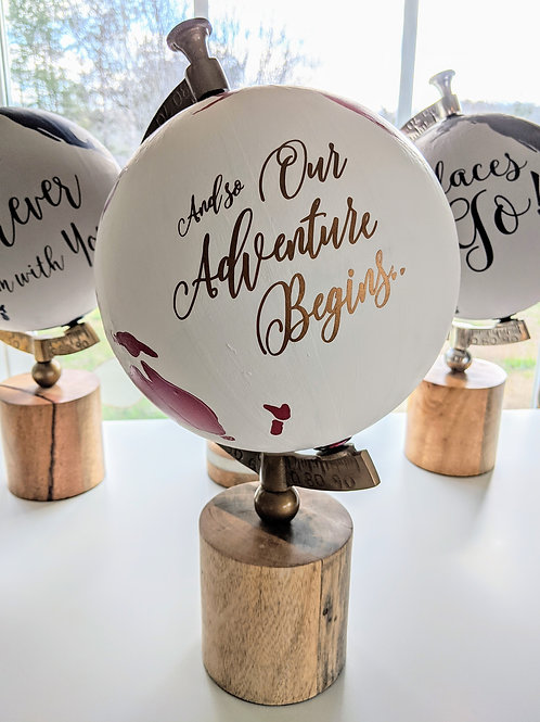 """""""And So Our Adventure Begins"""" Handpainted Globe in Cranberry"""