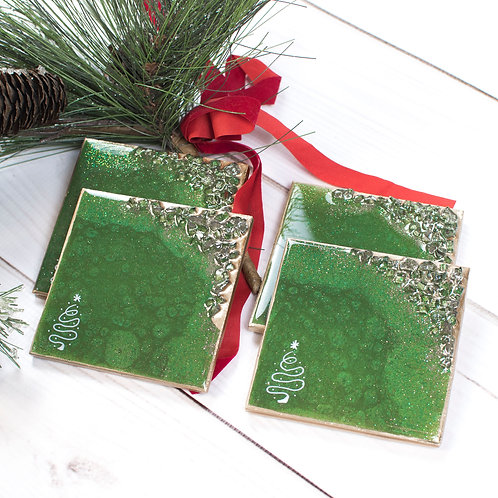 "Green Tree Christmas Coasters - Set of 4 w/Square Corners (4"" x 4"")"