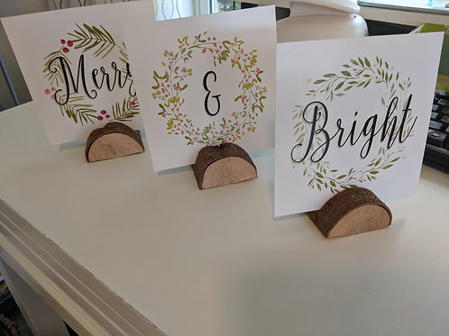 """Merry & Bright"" Set of 3 Prints/Photo Holders w/ Wood Bases"