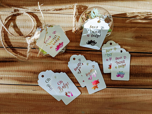 """""""Taco 'bout A Baby"""" Foil Baby Shower Favor Tags"""