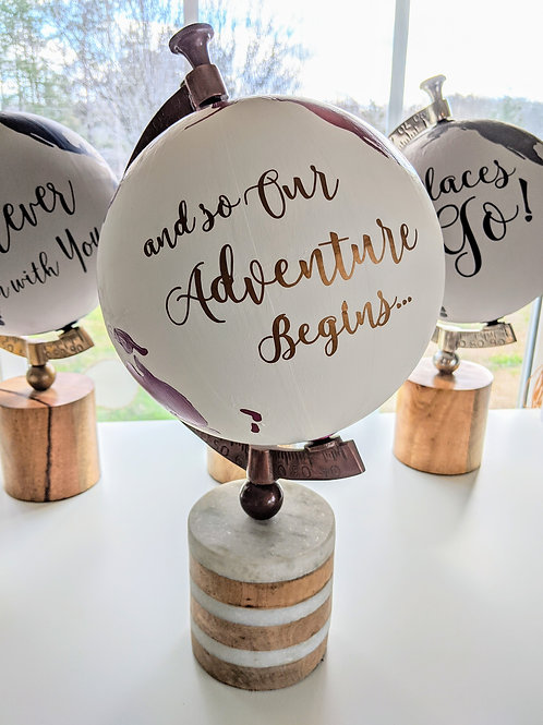 """And So Our Adventure Begins"" Handpainted Globe in Metallic Mulberry"