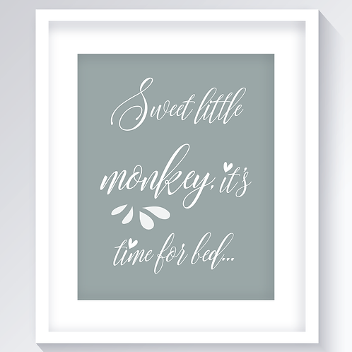 Sweet Little Monkey Nursery Print - Grey 8.5x11 Digital Download / Print