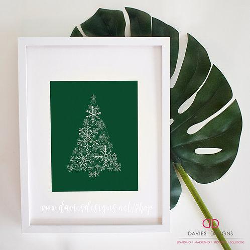 Green Snowflake Christmas Tree 8x10 Print