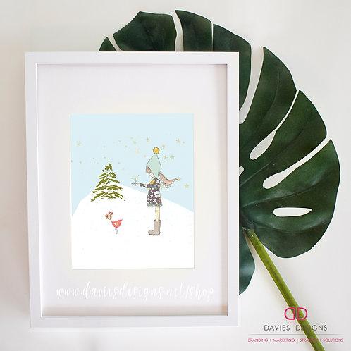 Little Girl with Bird 8x10 Print