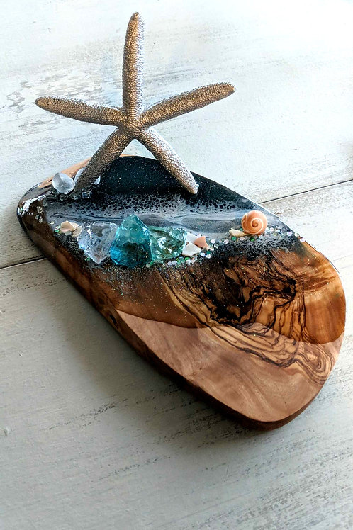 """5""""x9.5"""" Olive Wood Teal Starfish & Ocean Wave Business Card / Cell Phone Holder"""