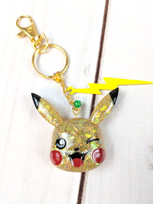 Winking Pikachu Resin Pokemon Keychain with Jewels & Electric Embellishments
