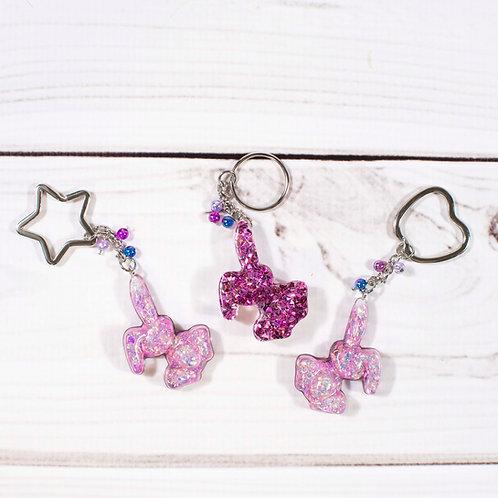 Handcrafted Poppin Purple Glitter Bunny Keychain