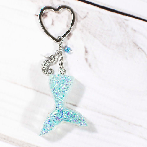 Handcrafted Opalescent Glitter Mermaid Tail Keychain