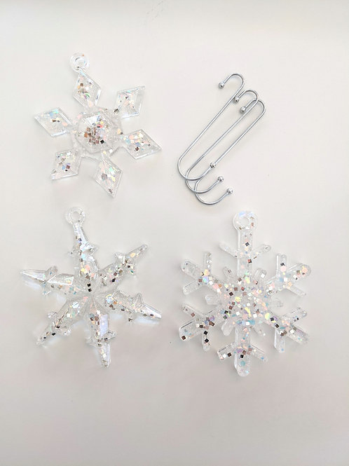 Icy Shimmer Resin Snowflake Ornaments - Set of 3 with Hooks