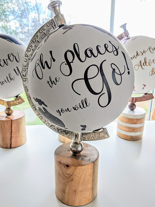"""""""Oh! The Places You Will Go"""" Handpainted Nursery Globe in Gray"""