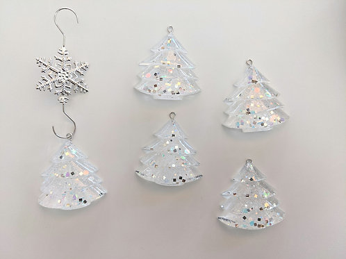 Icy Shimmer Tree Ornaments - Set of 5 with Hooks
