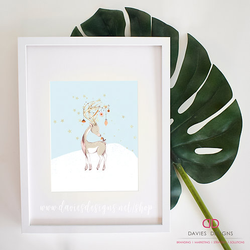 Reindeer with Ornaments 8x10 Print