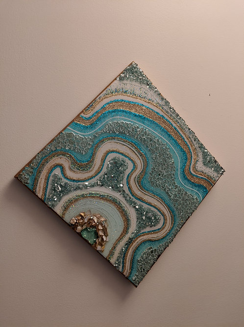 """""""Sea Tides"""" - """"12x12"""" Resin Geode Painting"""