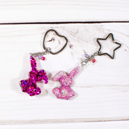 Handcrafted Poppin Pink Glitter Bunny Keychain