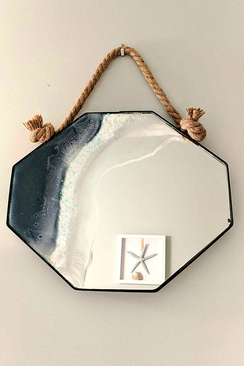 Resin Seascape on Octagon Mirror with Nautical Rope Hanger