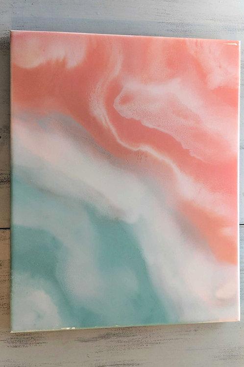 "16""x20"" Sunrise Ocean Resin Painting on Canvas"