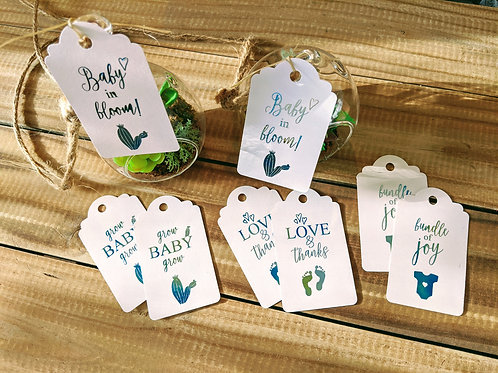 "Succulent Themed ""Baby in Bloom"" Foil Baby Shower Favor Tags"