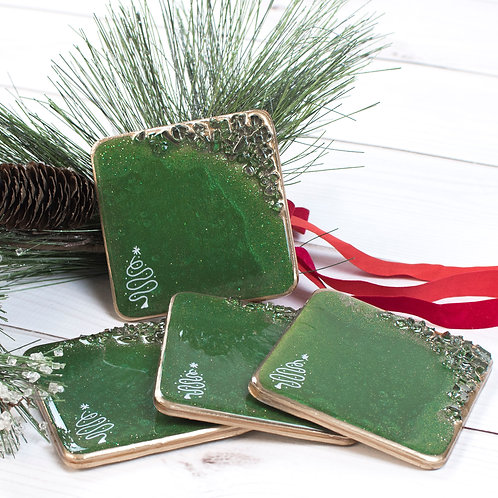 "Green Tree Christmas Coasters - Set of 4 w/Round Corners (4"" x 4"")"