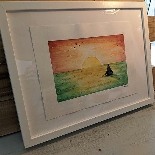 """Sunset Sailing"" Framed Original Watercolor (17""x13"")"