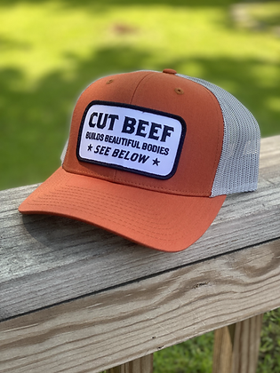 """Cut Beef Builds Beautiful Bodies"" - Burnt Orange & Tan"