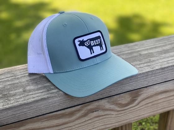 Cut Beef Trucker Hat - Teal & White