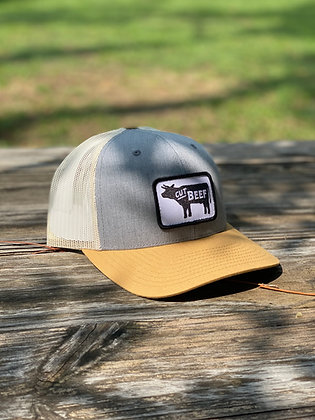 Cut Beef Trucker Hat - Gray and Yellow
