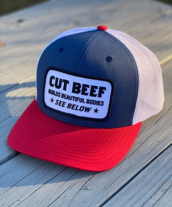 """Cut Beef Builds Beautiful Bodies"" - Red White & Blue Hat"